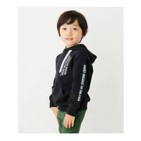 【100-150cm】フード裏配色プルパーカー (ブラック(019))