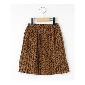 【100-140cm/ママおそろい】レオパード/ドット柄プリーツスカート (キャメル(641))