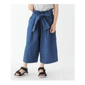 【100-140cm】ベルト付きワイドパンツ (ネイビー(093))