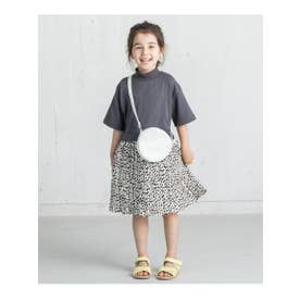 【100-140cm】5分袖ドッキングワンピース(モックネックトップス×プリーツスカート) (ディープグレー)