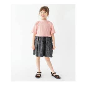 【100-140cm】5分袖ドッキングワンピース(モックネックトップス×プリーツスカート) (ピンク)