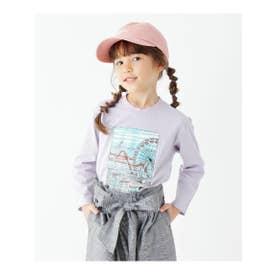 【90cmのみWEB限定サイズ】グラフィックプリントロングTシャツ (パープル)