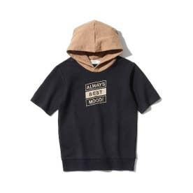 【150-160cm】ミニ裏毛5分袖プルパーカー (ブラック)