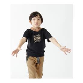 ミニ裏毛5分袖プルパーカー (ブラック)