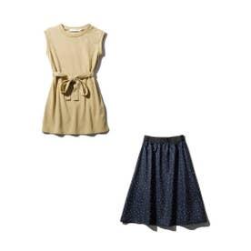 【100-140cm】【2点SET】チュニック&ドットスカート (サンドベージュ)