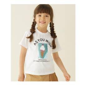 【100-150cm】スパンコールアイスクリーム柄Tシャツ (オフホワイト)