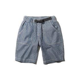 【160cm】デニム/ヒッコリー飾りベルト付きショートパンツ (ネイビー)