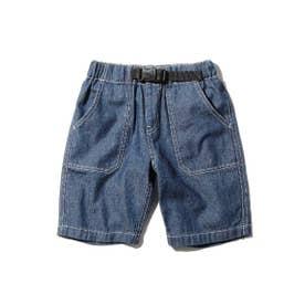 【100-150cm】デニム/ヒッコリー飾りベルト付きショートパンツ (ネイビー)