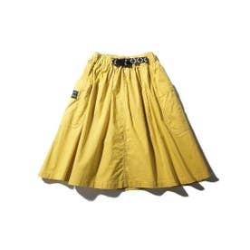 【100-140cm】BIGポケットスカート(飾りテープベルト付き) (イエロー)