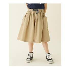 【100-140cm】BIGポケットスカート(飾りテープベルト付き) (サンドベージュ)