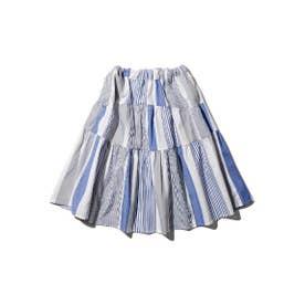 【100-140cm】ママおそろいドビーストライプティアードスカート (サックス)