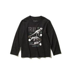 【WEB限定サイズ90cm/100~140cm】【EC限定カラー有り】グラフィックプリントロングTシャツ (ブラック)