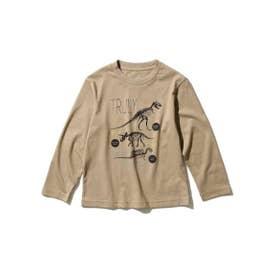 【WEB限定サイズ90cm/100~140cm】【EC限定カラー有り】グラフィックプリントロングTシャツ (サンドベージュ)