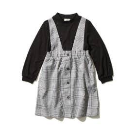 【100-140cm】モックネックトップス×ジャンスカデザイン/ドッキングワンピース (ブラック)