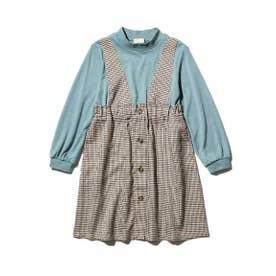 【100-140cm】モックネックトップス×ジャンスカデザイン/ドッキングワンピース (ブラウン)
