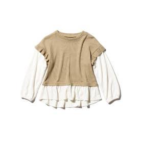 【150cm・WEB限定160cm】【ママとリンクコーデ】フェイクレイヤードロングTシャツ (キャメル)