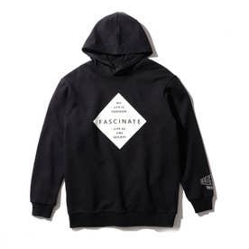 【150-160cm】プリント裏毛パーカ (ブラック)
