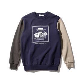【150-160cm】プリントクルーネック裏毛トレーナー (ダークネイビー)