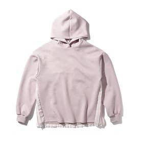 【150-160cm】バックプリーツ切り替えパーカ (ピンク)