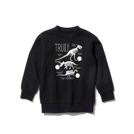 【WEB限定カラーあり】恐竜プリントトレーナー (ブラック)