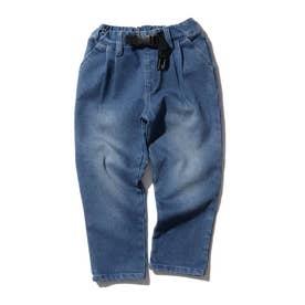 【150・160cm】あったかストレッチデニム タックシェアパンツ<飾りベルト> (ブルー)