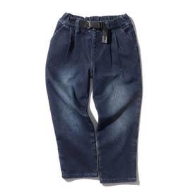 【150・160cm】あったかストレッチデニム タックシェアパンツ<飾りベルト> (ダークネイビー)