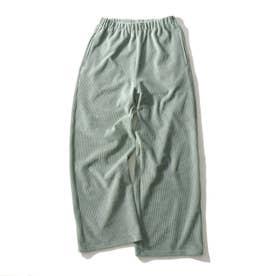 【150cm】ストレッチコールワイドパンツ (ライトグリーン)