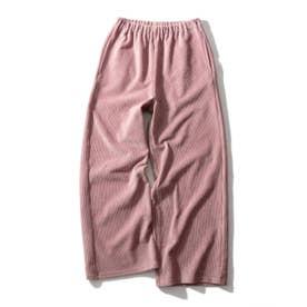 【150cm】ストレッチコールワイドパンツ (ベビーピンク)
