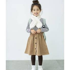 【スヌードSET】リブトップス×フロントボタンデザインスカートドッキングワンピース (ブラック)