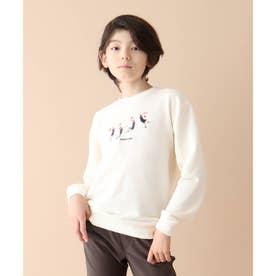 【150・160cm】【WEB限定】スケート/バスケ刺繍ビックシルエットスウェット/トレーナー (ホワイト)