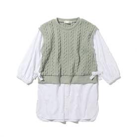 【ママとリンクコーデ】ニット見えカットソーベスト×カットソーシャツデザインワンピースセット (ライトグリーン)