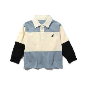 【WEB限定】【150・160cm】KANGOL/カンゴール別注クレイジーパターンラガーシャツ (ライトブルー)