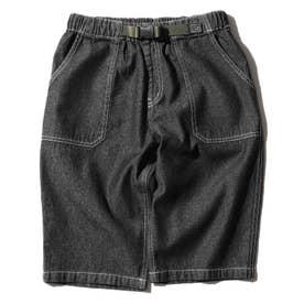 【160cmまで】飾りベルト付きデニムショートパンツ (ブラック)