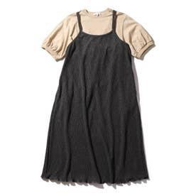 【150・160cm/リンクコーデ/2点セット】プリーツワンピース×TシャツSET (ディープグレー)