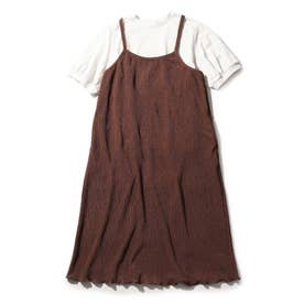 【150・160cm/リンクコーデ/2点セット】プリーツワンピース×TシャツSET (キャメル)