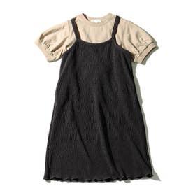 【リンクコーデ/2点セット】プリーツワンピ×TシャツSET (ディープグレー)
