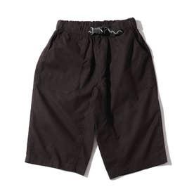【150・160cm】定番カラーショートパンツ/飾りベルト付き (ブラック)