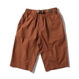 【150・160cm】定番カラーショートパンツ/飾りベルト付き (ブラウン)
