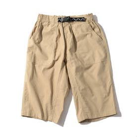 【150・160cm】定番カラーショートパンツ/飾りベルト付き (ベージュ)
