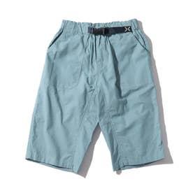 【150・160cm】定番カラーショートパンツ/飾りベルト付き (ブルー)