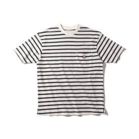 【リサイクル素材CYCLO/150・160cm】ボーダーTシャツ (チャコールグレー)