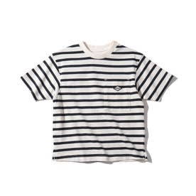 【リサイクル素材CYCLO】ボーダーTシャツ (ダークネイビー)