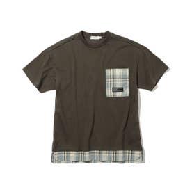 【150・160cm】フェイクレイヤードTシャツ (チャコールグレー)
