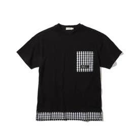 【150・160cm】フェイクレイヤードTシャツ (ブラック)
