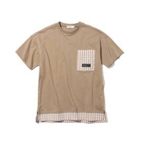 【150・160cm】フェイクレイヤードTシャツ (ベージュ)