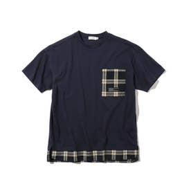 【150・160cm】フェイクレイヤードTシャツ (ダークネイビー)