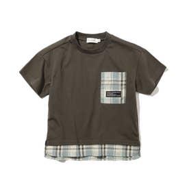 フェイクレイヤードTシャツ (チャコールグレー)