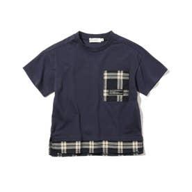 フェイクレイヤードTシャツ (ダークネイビー)