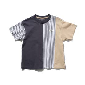 クレイジーパターン×ストライプ柄Tシャツ (ディープグレー)