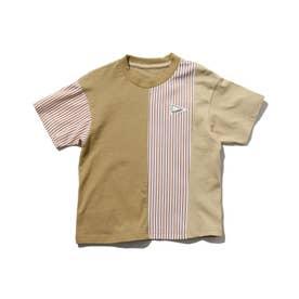 クレイジーパターン×ストライプ柄Tシャツ (ブラウン)